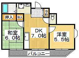 ロイヤル香ケ丘[3階]の間取り