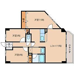 奈良県奈良市三条本町の賃貸マンションの間取り