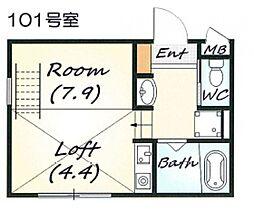 ヴィレッタ魚崎II[104号室号室]の間取り