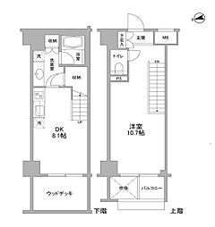 JR総武線 東中野駅 徒歩2分の賃貸マンション 1階1LDKの間取り