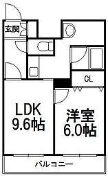 シティパレス菊水(第73松井ビル)[411号室]の間取り