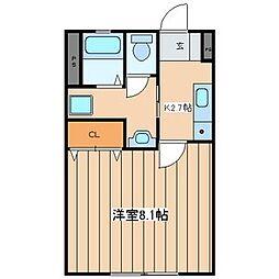 神奈川県横浜市青葉区あざみ野2丁目の賃貸アパートの間取り