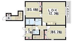 兵庫県加古川市野口町坂元北2丁目の賃貸アパートの間取り