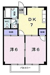 広島県福山市西新涯町1丁目の賃貸アパートの間取り