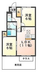 滋賀県大津市和邇中の賃貸アパートの間取り
