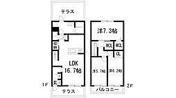 [テラスハウス] 兵庫県西宮市神呪町 の賃貸【/】の間取り