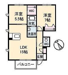 ピアタウンD棟[1階]の間取り