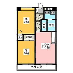 横幕レズィデンスI[2階]の間取り