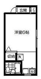 東京都新宿区河田町の賃貸マンションの間取り