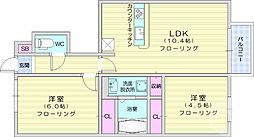 JR東北本線 南仙台駅 3.9kmの賃貸アパート 1階2LDKの間取り