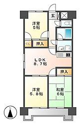 ジュフク松本[8階]の間取り