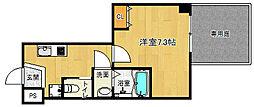 京都市営烏丸線 北大路駅 徒歩20分の賃貸マンション 1階1Kの間取り