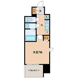 仙台市営南北線 北四番丁駅 徒歩5分の賃貸マンション 9階1Kの間取り