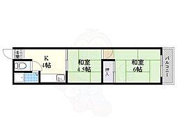 東和マンション 4階2Kの間取り