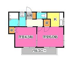 コーポ ヤイタ[2階]の間取り