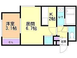 札幌市営東豊線 豊平公園駅 徒歩6分の賃貸マンション 3階1LDKの間取り