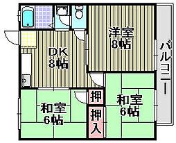 ハイツ川崎[2D号室]の間取り