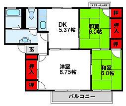 ロイヤルシェルA棟[2階]の間取り
