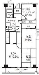 阪急神戸本線 西宮北口駅 徒歩18分の賃貸マンション 3階2SLDKの間取り