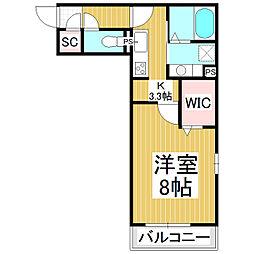 メゾン・ド・メイユール 2階1Kの間取り