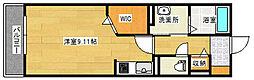 東雲MEビル 2階1Kの間取り