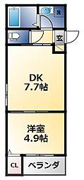 シティコート徳庵 1階1DKの間取り