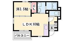 クラリティ スカイII 1階1LDKの間取り