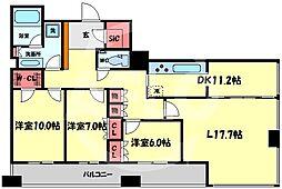 N4.TOWER 22階3LDKの間取り