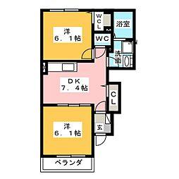 インノバールII 1階2DKの間取り
