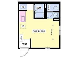都営大江戸線 本郷三丁目駅 徒歩8分の賃貸アパート 1階ワンルームの間取り