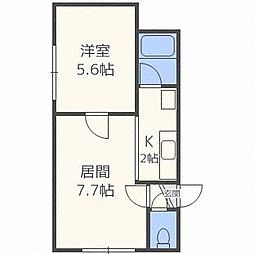 北海道札幌市白石区平和通11丁目南の賃貸アパートの間取り