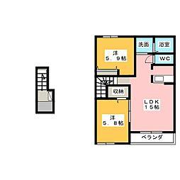 静岡県伊豆の国市南條の賃貸アパートの間取り