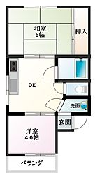 日幸東奈良ハイツ[2階]の間取り