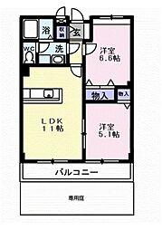 泉北高速鉄道 深井駅 徒歩21分の賃貸アパート 1階2LDKの間取り