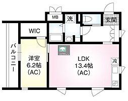 仮)翠川ビル 4階1LDKの間取り