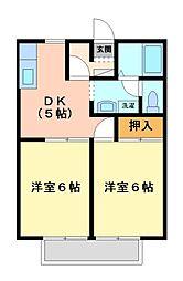 神奈川県川崎市宮前区平5丁目の賃貸アパートの間取り