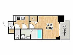 エスリード大阪CENTRAL AVENUE 3階1Kの間取り