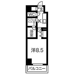 名古屋市営桜通線 国際センター駅 徒歩10分の賃貸マンション 5階1Kの間取り