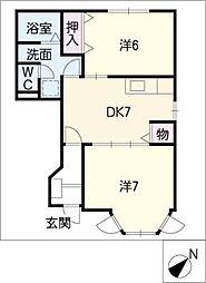 レジデンスTAHARA B[1階]の間取り