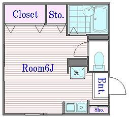 東京都北区赤羽3丁目の賃貸アパートの間取り