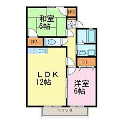 愛知県知多郡武豊町字鹿ノ子田2丁目の賃貸アパートの間取り