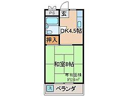 京都府宇治市五ケ庄福角の賃貸マンションの間取り