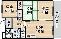 北大阪急行電鉄 緑地公園駅 徒歩7分の賃貸マンション 3階3LDKの間取り