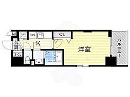 阪急京都本線 崇禅寺駅 徒歩3分の賃貸マンション 5階1Kの間取り