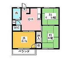 神奈川県藤沢市円行の賃貸アパートの間取り