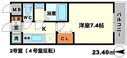 W-STYLE新大阪 5階1Kの間取り
