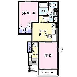 福岡県福岡市南区横手南町の賃貸アパートの間取り