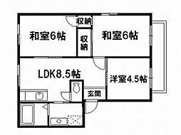 京都府京都市北区小松原南町の賃貸アパートの間取り