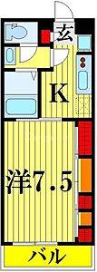 間取り,1K,面積26.08m2,賃料6.7万円,東武伊勢崎線 竹ノ塚駅 徒歩11分,東武伊勢崎線 谷塚駅 徒歩31分,東京都足立区竹の塚5丁目34-