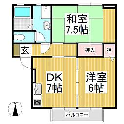 ハイカムールTago A棟[1階]の間取り